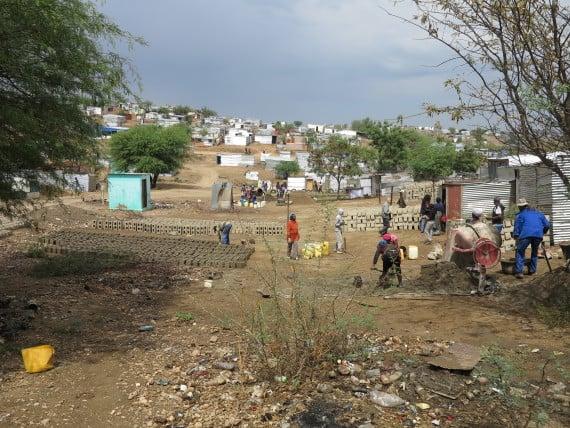 Etuyeni savings group makes bricks in Havana settlement, Windhoek